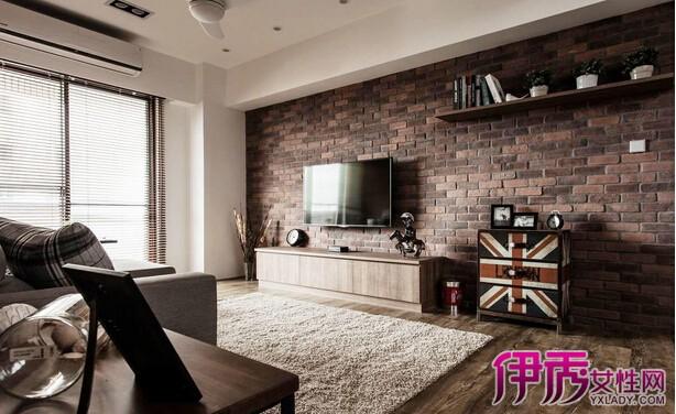 美式家居風格客廳磚墻背景墻裝修圖片