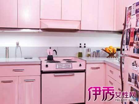 【图】橱柜设计效果图 粉色极具浪漫简约风