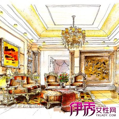 【欧式客厅手绘效果图】【图】欧式客厅手绘效果图