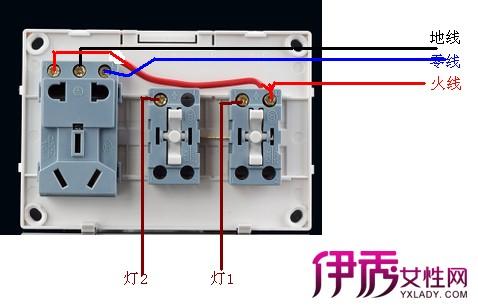 4,开关控制多用插座接线图:多用插座,即可插三角座 ,又可插双脚座