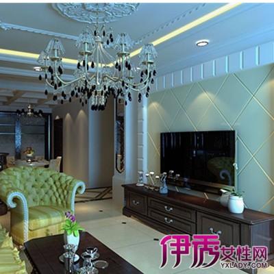 菱形拼花设计的电视背景墙搭配白色石膏板外框