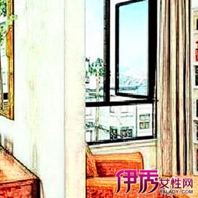 红色的布帘与书房的红色装饰也极为匹配,有一种舞台的感觉。工作时只需将布帘拉起,就能得到独立又安静的空间了。这种设计的好处是低成本,也适合小户型。 客厅的后方区域被主人巧妙打造成了小小书房区域。用有色玻璃作了小小隔断,美观又大方。墙上手绘肖像画非常个性。 不仅水泥墙、玻璃、布帘可以用来作为隔断,家具也可以,最常见的就是柜体家具了。书架、桌子、地板相互呼应,简单大方。圆滚滚的椅子看起来非常舒服。