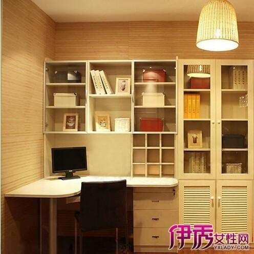 转角书桌书柜设计图纸展示图片