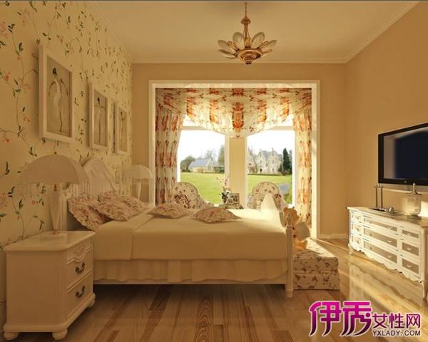 欧式田园风格卧室多采用木制家具和素色装饰