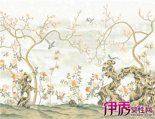 一幅中国山水画,一张八仙桌,新中式墙纸贴图立马就将你带入了中国风的