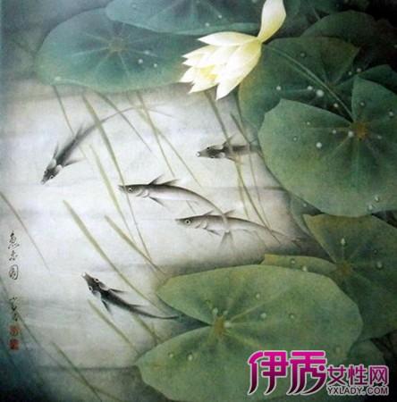 【图】国画荷花鲢鱼的图片大全 清新高雅象征美好幸福