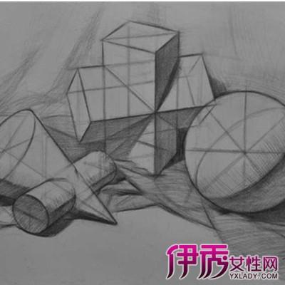 石膏几何体结构素描图片