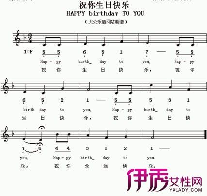 手指钢琴乐谱-生日快乐五线谱钢琴谱