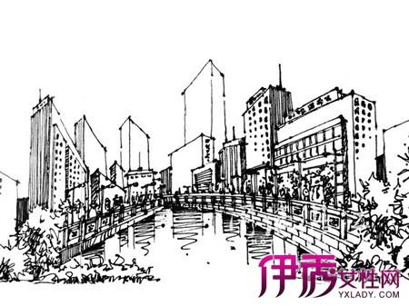 现代建筑手绘钢笔画