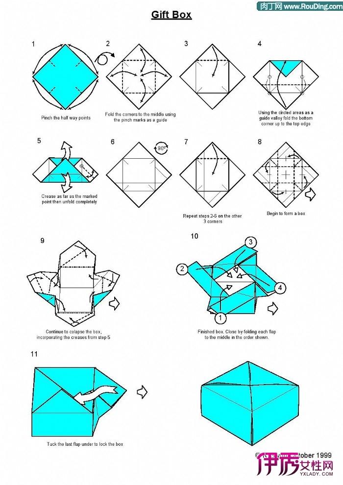 盒子折法图解_戒指盒子的折法图解_包装盒子的折 ...