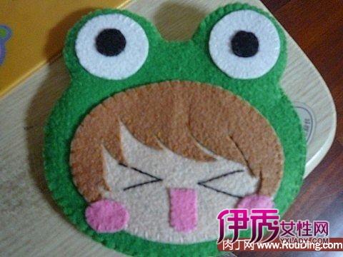 不织布教程-青蛙娃娃零钱包手工制作