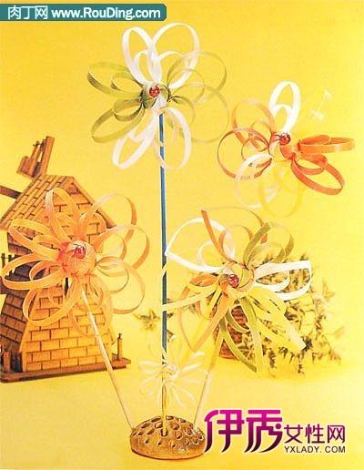 废旧物品手工制作图--打包带编织风车