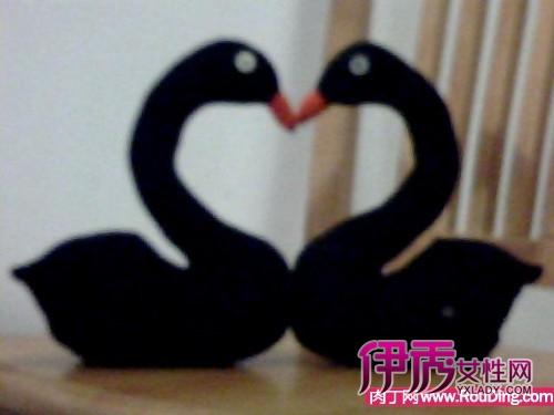 特简单超可爱的袜子娃娃黑天鹅