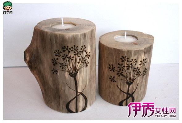 手工实木烫花蜡烛台实用diy作品欣赏