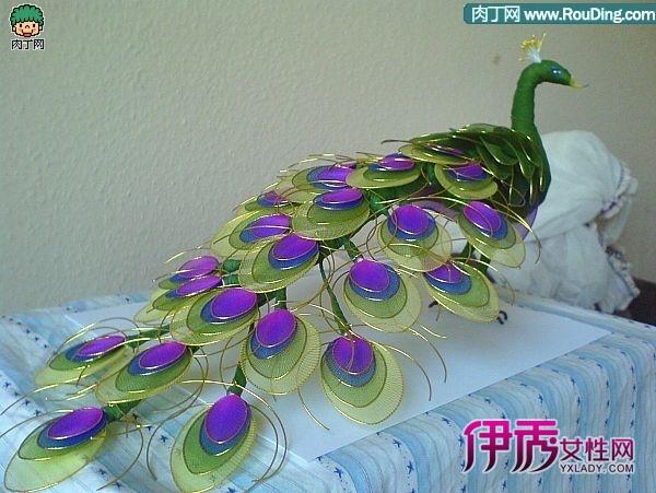 丝网花动物制作:丝网花孔雀制作方法