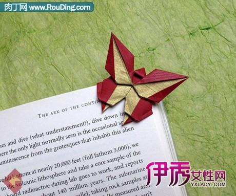 漂亮的蝴蝶书签折纸DIY图解-书页设计 树叶图片 锻造之书书页 书页图片