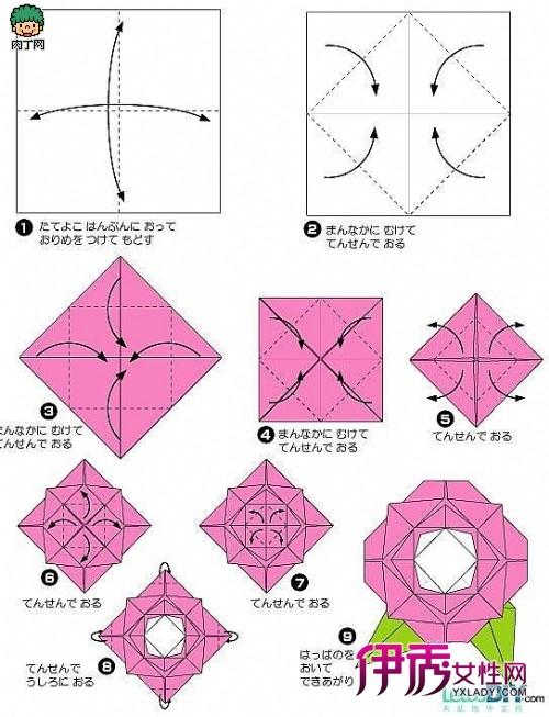 图解折纸立体玫瑰的折法-纸艺diy