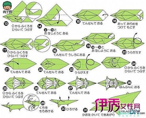 手工折纸鳄鱼的折法图解