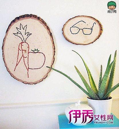 木头上的刺绣作品