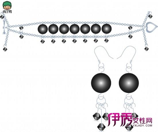 统一风格的串珠手链和串珠耳环的做法,水晶首饰套链diy图解