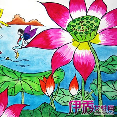 水彩笔画荷花图展示