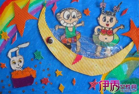 中秋节儿童嫦娥奔月简笔画图片