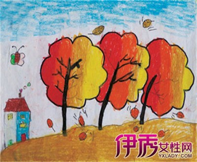 【图】秋天主题儿童画 金秋岁月落叶飘香图片