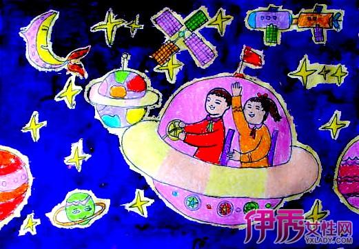 太空画儿童画图片