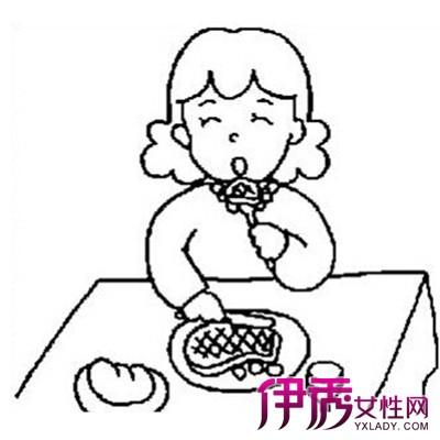 小朋友吃饭简笔画