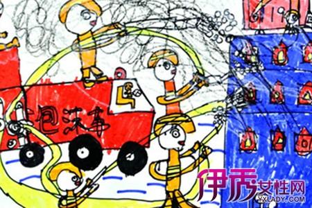 消防车救火儿童画