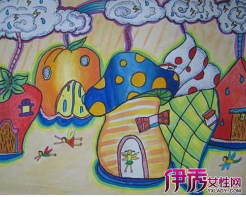【图】儿童画水果房子 让孩子轻松学会简笔画-儿童画水果房子