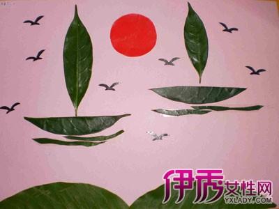 儿童树叶手工贴画图片