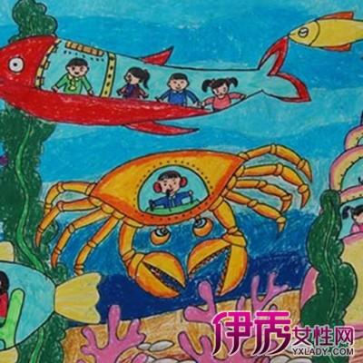 太空飞船蜡笔画-宇宙飞船儿童画
