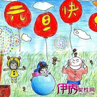 图】可爱的欢度元旦儿童画 激发幼儿早期智力-欢度元旦儿童画