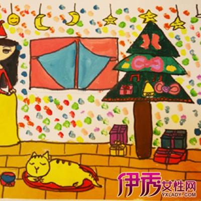 三角形构图儿童画-儿童绘画圣诞树图片