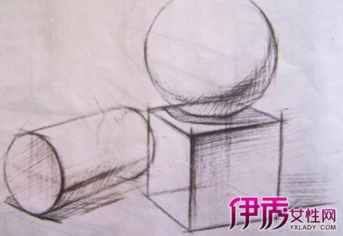 正方体球体素描图欣赏 学习几何体的结构素描图片