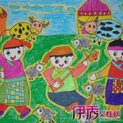 少数民族儿童画